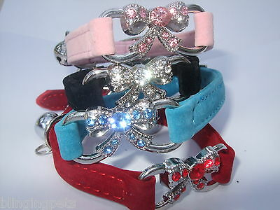 Cat Collar Diamante rhinestone crystal Bow Bling safety elastic Velvet diamonte