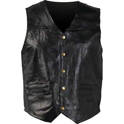 New Mens Genuine Leather Motorcycle Biker Vest Lg XL 2X Or 3X