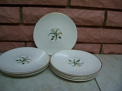 """KNOWLES USA  FORSYTHIA PATTERN 6"""" SAUCERS SET OF 9"""
