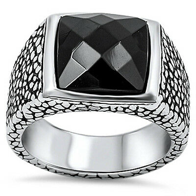Black Onyx Fancy Style Stainless Steel 316L Ring Sizes 9-14
