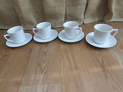 J & G Meakin Classic White China Coffee Cups with Saucers #2510