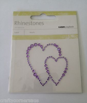 RHINESTONE PLASTIC STICKERS HEART  KAISER CRAFT Two Purple Overlapping hearts