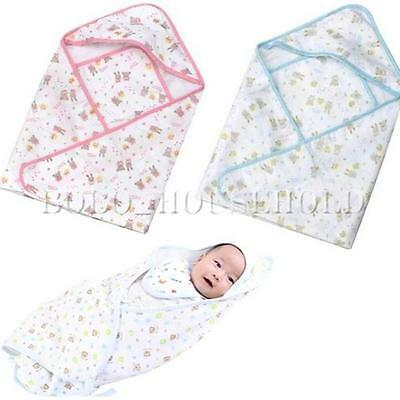 0-12M Baby Infant Cotton Bath Swaddle Easy Wrap Swaddling Blanket Sleeping Bag