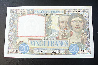 Rare Ancien  Billet  20  Frs  Science  -  22/08/1940  Sup/spl  !!!
