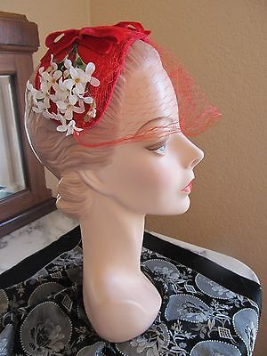 Vintage 1930s bright red church day hat with white cotton flowers at each ear