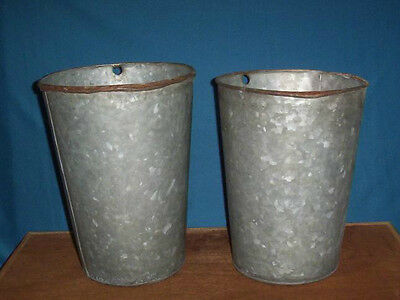 2 Vintage OLD GALVANIZED Sap Buckets Maple Syrup NICE DECOR
