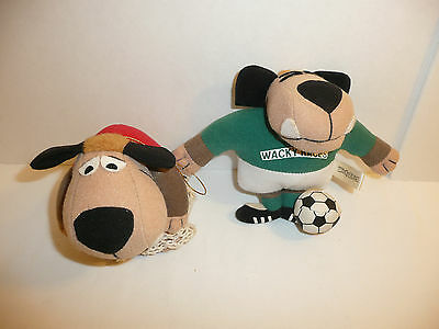 Lot of 2 Muttley Plushes - Wacky Races Sports - SUN L 1990's Basketball Soccer