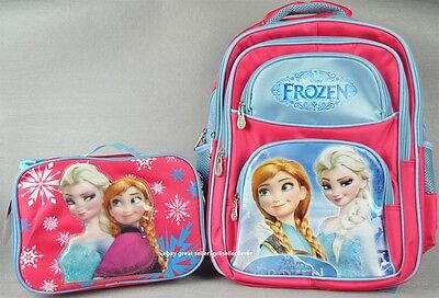 "Disney Frozen Elsa Anna Swirls Girls 16/"" Large Backpack with Attached Lunch Bag"
