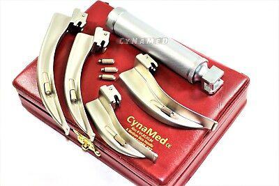 Laryngoscope Mac Set Of 4 Blade And One Handle Emt Anastasia  Intubation+3 Bulb