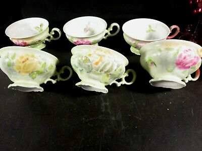 6 Hand Painted Hutschenreuther Footed Cups Flowers Signed