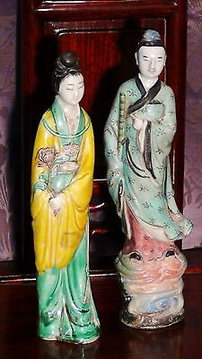 Pair Antique 19C Chinese Porcelain Glazed Man &Woman Hand Painted Figures,Marked
