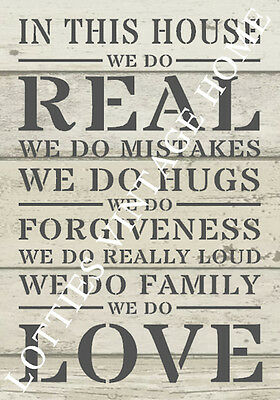 A4 Stencil HOUSE RULES For Furniture Fabric Shabby Chic Vintage ❤ 190 MYLAR