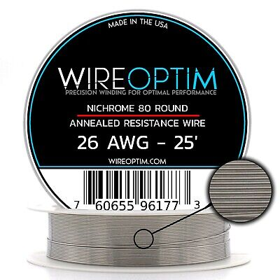 Nichrome 26 Gauge AWG Wire 25' Roll .40mm , 2.657 Ohms/ft Resistance