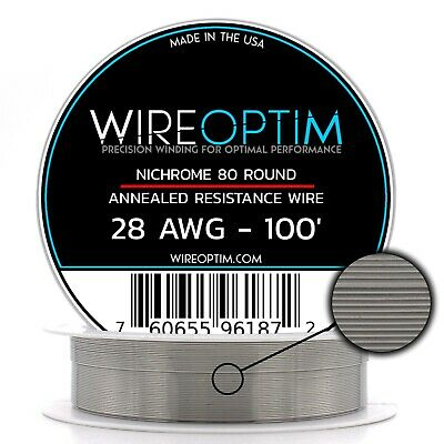 28 Gauge AWG Nichrome 80 Wire 100' Length - N80 Wire 28g GA 0.32 mm 100 ft