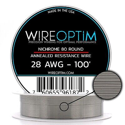 Nichrome 28 Gauge AWG Wire 100ft Roll .32mm , 4.08 Ohms/ft Resistance