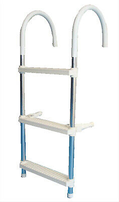 BOAT BOARDING LADDER - 3 STEP - HEAVY DUTY QUALITY ALUMINIUM FOLDING Brand New