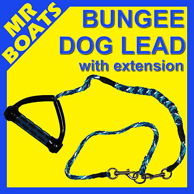 ✱ Bungee Dog Lead / Leash ✱ Blue With Useful Extension & Soft Grippy Handle New