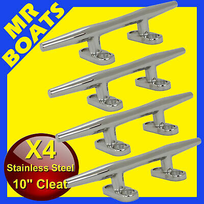 "4X 10"" 250mm ✱BOAT CLEAT ✱Stainless Steel Slimline HEAVY DUTY Rope Tie BRAND NEW"