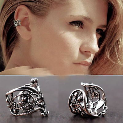 Silver Hollow Ear Cuff Upper Helix Cartilage Clip-On Earring Gothic Rock Unisex