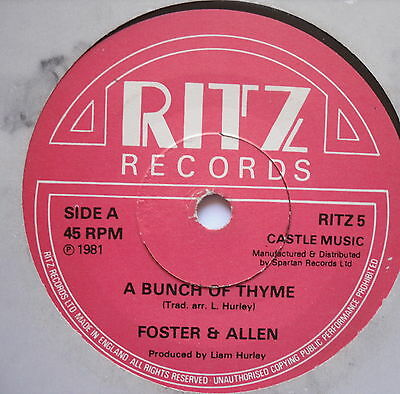 "FOSTER & ALLEN - A Bunch Of Thyme - Excellent Condition 7"" Single RITZ 5"