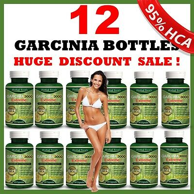 12 x BOTTLES - 3000mg Daily GARCINIA CAMBOGIA 95% HCA Capsules Weight Loss DIET