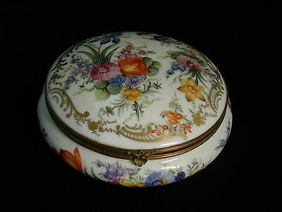 Elegant Antique Hand-Painted German Porcelain Jewelry Box Top Quality Mint Cond