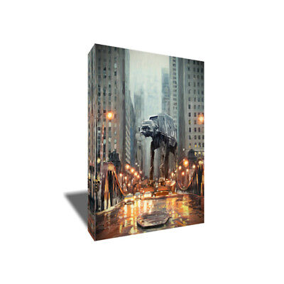 Star Wars ATAT in the City Poster Photo Painting Artwork on CANVAS Wall Art