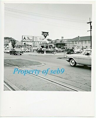 c.1950's Original Photo ~ CONOCO GAS SERVICE STATION w/ Pumps & Cars