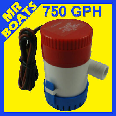 750 GPH SUBMERSIBLE BOAT BILGE WATER PUMP 12V Outlet 3/4'  20mm 750GPH FREE POST