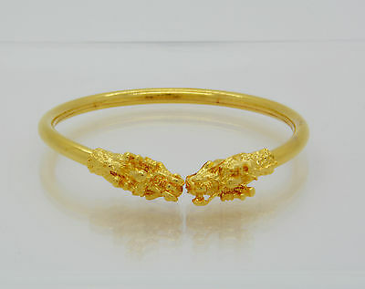 22K Thai Yellow Gold Plated Bracelet Bangle Chinese Dragon Rare Good Luck