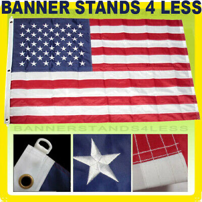 10x15 ft American Flag Embroidered US Large Jumbo Sewn Nylon Stars USA Deluxe