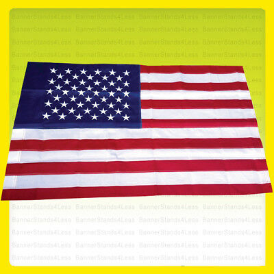 3x5 Ft American Flag EMBROIDERED USA Deluxe Nylon US with POLE POCKET SLEEVE