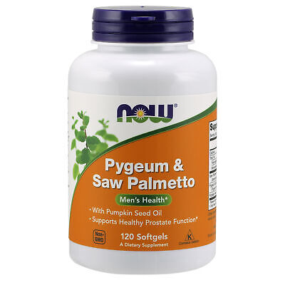 NOW Foods Pygeum Saw Palmetto & Pumpkin Seed Oil 120 Softgels | Prostate Support