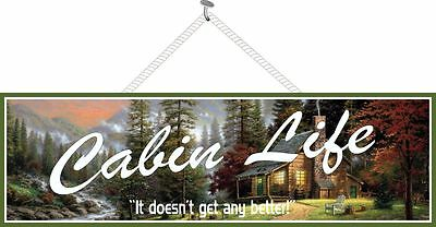 Rustic Cabin Life Camp Sign with Log Cabin, Pine Trees & Mountains PM105