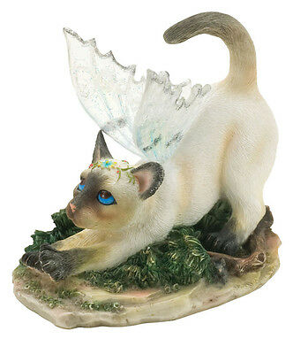 ✴ FAERIE GLEN Faerie Tails Fairy Cat Figurine Siamese Cat Dutchess