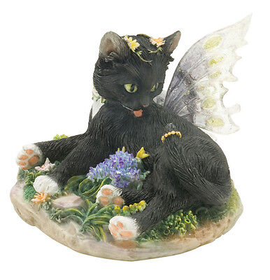 ✴ FAERIE GLEN Faerie Tails Fairy Cat Figurine Black Cat Zoe
