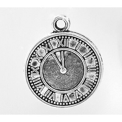 10 Clock Watch Face Dial Time Antique Silver Charms Pendants 18mm x 21mm (429)