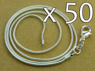 WHOLESALE Lot 50x High Q SILVER SNAKE CHAIN NECKLACE 45.7cm - 46cm 1.3 mm