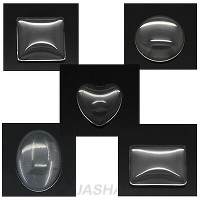 Clear Glass Cabochons Square Oval Round Heart Rectangle Various Sizes