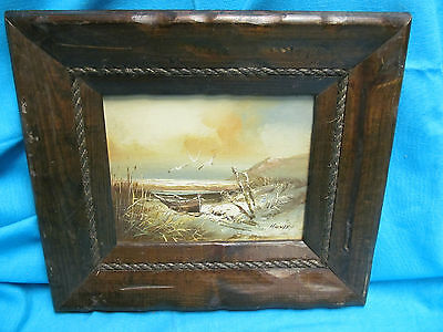 "SIGNED H. GAILEY SEASIDE & SEAGULLS OIL ON BOARD CANVAS PAINTING 8"" x 10"" FRAMED"