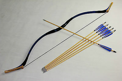 45LBS Traditional Snakeskin bow Mongolian Longbow For Hunting and 6 wood arrows