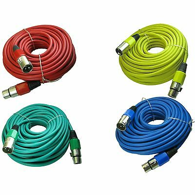 4PACK 100 ft foot mixed color 3pin XLR male to female mic cord microphone cables