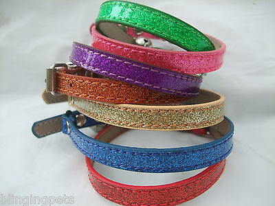 Glitter Cat Collar kitten safety elastic bling sparkly.Glitter doesn't shed Bell