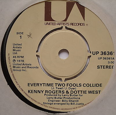 """KENNY ROGERS & DOTTIE WEST - Everytime Two Fools Collide - Ex Con 7"""" Single UA"""