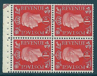 QB11 perf type E -1d Pale Scarlet Booklet pane ½ Arrow in margin UNMOUNTED MINT