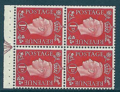 QB11a perf type I -1d Pale Scarlet Booklet pane Arrow in margin UNMOUNTED MINT