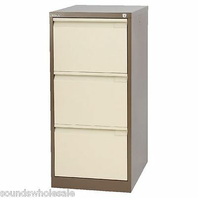 3 Drawer 'Professional' Bisley Steel Filing Cabinet Coffee / Cream A4 -  New