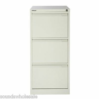 3 Drawer 'professional' Bisley Steel Filing Cabinet Chalk  -  A4 -  New