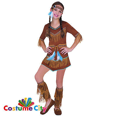 Childs Girls Wild West Native American Indian Princess Fancy Dress Party Costume