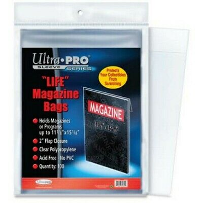 "100 ""life"" Magazine Size Storage Sleeves Bags Acid Free"